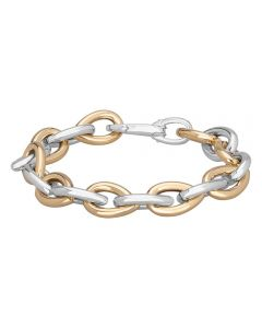 Sterling Silver And Gold Plated Heavy Pearshape Link Bracelet NTB180-S/Y