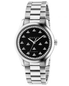 Gucci Ladies G-Timeless Automatic Stainless Steel Black Onyx Bee Motif Dial Bracelet Watch YA1264130
