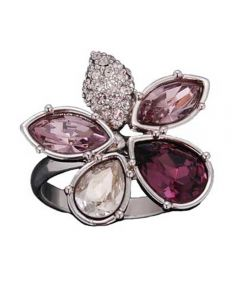 Sparkle Clear Purple Crystal Flower Ring R169 PURP