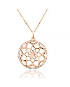 Rosa Lea Rose-Tone Pavé Flower Mandala Necklace 950705NA