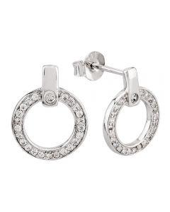 Rosa Lea Silver Open Circle Pavé Stud Earrings 948226EA-1
