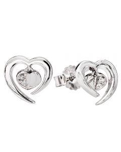 Rosa Lea Silver Cubic Zirconia Floating Heart Stud Earrings E3247C