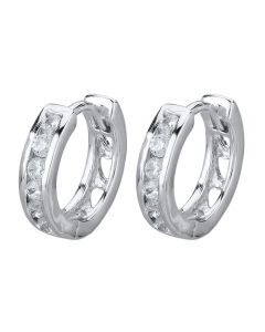 Starbright Silver Small Cubic Zirconia Cut-Out Heart Huggie Earrings E3040(2M) 3A