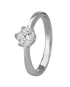 Starbright Silver 5mm Six Claw Round Cubic Zirconia Ring R3227(5M) 3A
