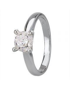 Starbright Silver 5mm Four Claw Round Cubic Zirconia Ring R6025(5M) 3A