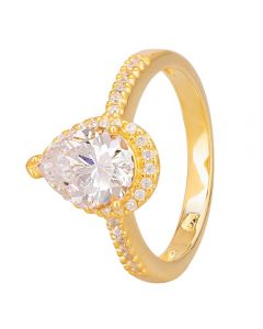 Starbright Gold Pear-Cut Cubic Zirconia Halo Shouldered Ring R6163 3A GP