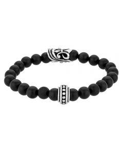 Bourne and Wilde Mens Black Agate Bead Bracelet UR06-07