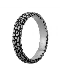 Bourne and Wilde Mens Oxidised Narrow Abstract Reptile Ring STR-481-01
