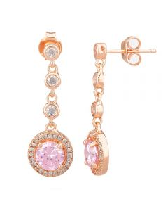 Morado Rose Gold Round Pink Cubic Zirconia Halo Dropper Earrings THB-05E PINK RGP