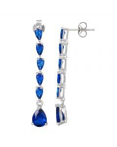 Morado Silver Pear-cut Blue Cubic Zirconia Dropper Earrings E4421 BLUE