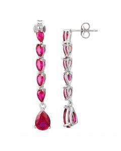 Morado Silver Pear-cut Red Cubic Zirconia Dropper Earrings E4421 RED