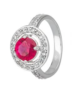 Morado Silver Round Red Cubic Zirconia Floating Halo Ring R3950 RED