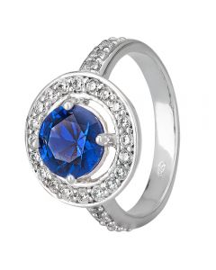 Morado Silver Round Blue Cubic Zirconia Floating Halo Ring R3950 BLUE