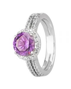 Morado Silver Round Purple Cubic Zirconia Split Shouldered Halo Ring R6101 PURPLE
