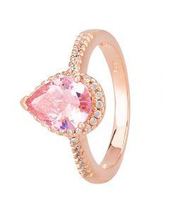 Morado Rose Gold Pear-cut Pink Cubic Zirconia Shouldered Halo Ring R6163 PINK RGP