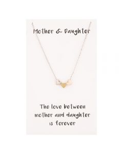 Sentiments Mother and Daughter Multi-Tone Heart Charm Necklace 18791