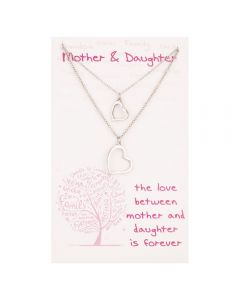 Sentiments Mother and Daughter Matching Heart Pendants 16527B