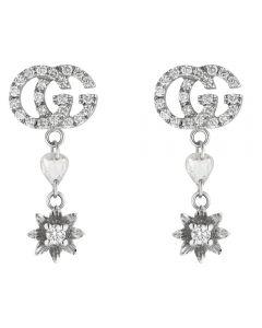 Gucci Flora 18ct White Gold Diamond Flower Dropper Earrings YBD58183000100U