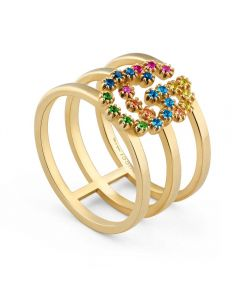 Gucci GG 18ct Gold Multi-Coloured Crystal Wide Cuff Ring YBC481653002