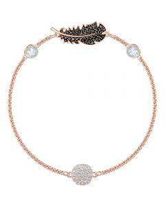 Swarovski Remix Black Crystal Feather Strand Rose Gold Tone Bracelet