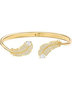 Swarovski Nice Feather Crystal Gold Tone Bangle 5505622
