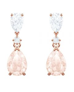 Swarovski Vintage Rose Gold Tone Pink Pear Dropper Earrings 5466888