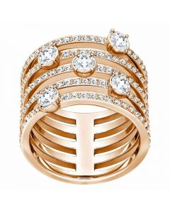 Swarovski Creativity Rose Gold Tone Multi Row Ring