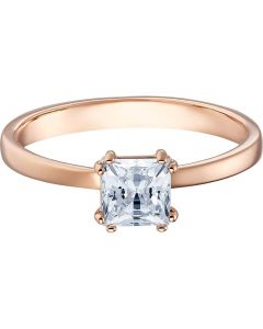 Swarovski Attract White Square Crystal Motif Rose Gold Tone Ring