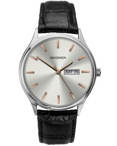 Sekonda Black Leather Silver and Rose-Gold Dial Strap Watch 1686