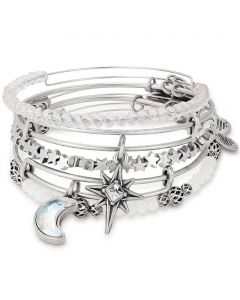 ALEX AND ANI Silver Moon And Star Set of 5 Bangle A17SETM05RS