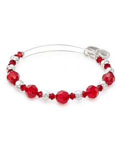 ALEX AND ANI Bloom Silver Finish and Red Crystal Bangle A17EB09SS