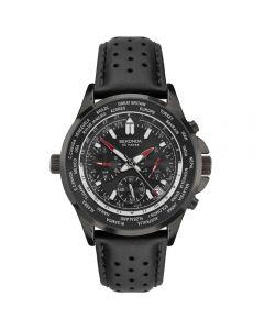 Sekonda Leather Strap Dual Time Black Watch 1864