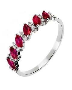 18ct White Gold Diamond and Ruby Half Eternity Ring 18DR344-R-W