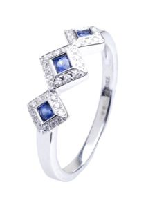 18ct White Gold Triple Sapphire Diamond Cluster Ring 18DR371-S-W