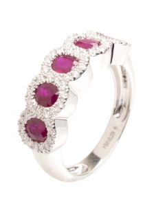18ct White Gold Five Stone Ruby and Diamond Cluster Ring 18DR431-R-W