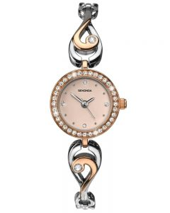 Sekonda Ladies Matte Rose Stone Set Dial Two-Tone Rose Gold Plated Open Link Bracelet Dress Watch 2105