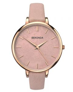 Sekonda Editions Ladies Pink Leather Strap Watch 2563