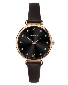 Sekonda Ladies Rose Gold Plated Dark Brown Leather Strap Watch 2785