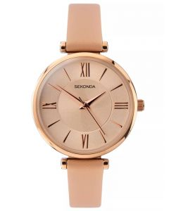 Sekonda Ladies Editions Rose Gold Plated Champagne Dial Pink Leather Strap Watch 2845