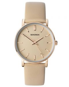 Sekonda Ladies Rose Gold Plated Nude Dial Leather Strap Watch 2886