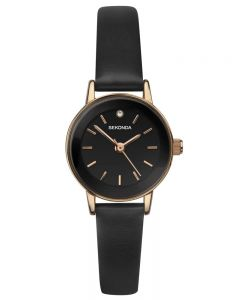 Sekonda Ladies Rose Gold Plated Black Stone Set Dial Brown Leather Strap Watch 2787