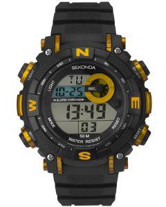 Sekonda Mens Black Yellow Rubber Digital Watch 1526