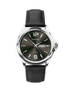 Sekonda Mens Stainless Steel Dark Brown Dial Leather Strap Watch 1655