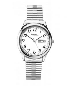Sekonda Mens Stainless Steel White Dial Expander Bracelet Watch 1693