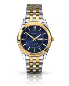 Sekonda Mens Classic Blue Sunray Dial Two Tone Bracelet Watch 1032