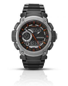 Sekonda Mens Sports Black Digital Dial Plastic Strap Watch 1160