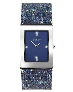 Sekonda Ladies Seksy Rocks Rhodium Plated Blue Glitter Leather Strap Watch 2758
