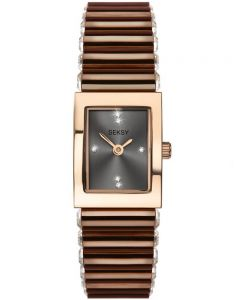 Sekonda Ladies Seksy Rose Gold Plated Swarovski Crystal Set Dial Brown Bracelet Watch 2914