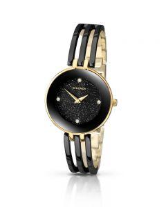 Sekonda Ladies Editions Stone Set Black Glitter Dial Two Tone Gold Plated Bracelet Watch 2109