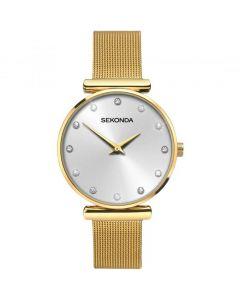Sekonda Editions Ladies Fashion Gold Plated Mesh Strap Watch 2492 ADV